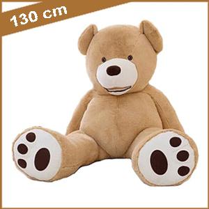 Lichtbruine knuffelbeer 130 cm met T-shirt
