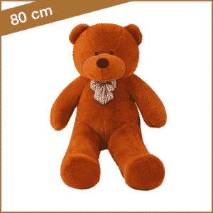 Bruine knuffelbeer 80 cm met T-shirt