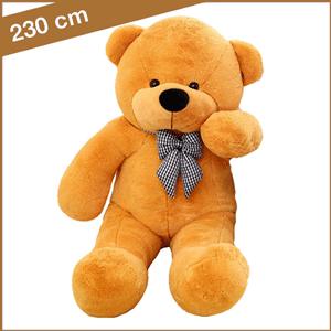 Oranje knuffelbeer van 230 cm met T-shirt