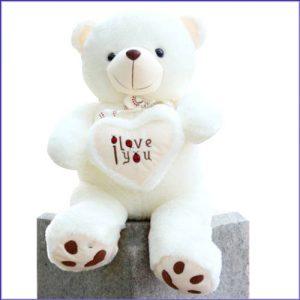 witte i love you knuffelbeer, valentijnsknuffelbeer