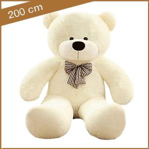 Grote witte knuffelbeer van 200 cm met T-shirt