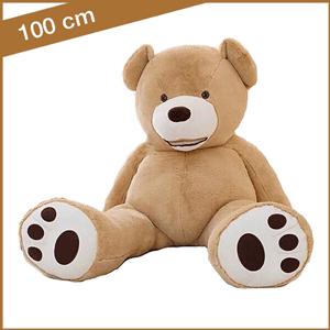 Lichtbruine knuffelbeer 100 cm met T-shirtje