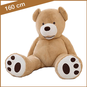 Grote lichtbruine knuffelbeer van 160 cm