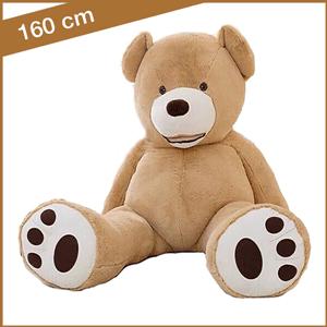 Lichtbruine knuffelbeer 160 cm met T-shirt