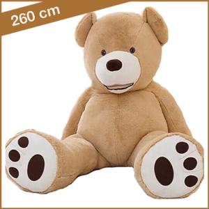 Lichtbruine knuffelbeer 260 cm met T-shirt