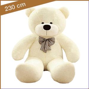 Witte knuffelbeer 230 cm met T-shirt