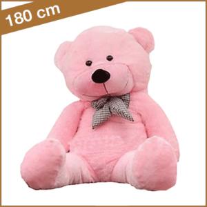 Roze knuffelbeer 180 cm met T-shirt