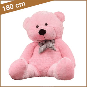 Roze knuffelbeer 180 cm