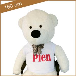 Witte knuffelbeer 160 cm met T-shirt